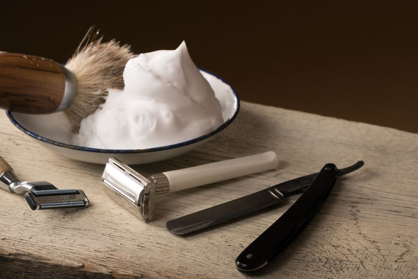 vintage shaving Equipment on wooden Table