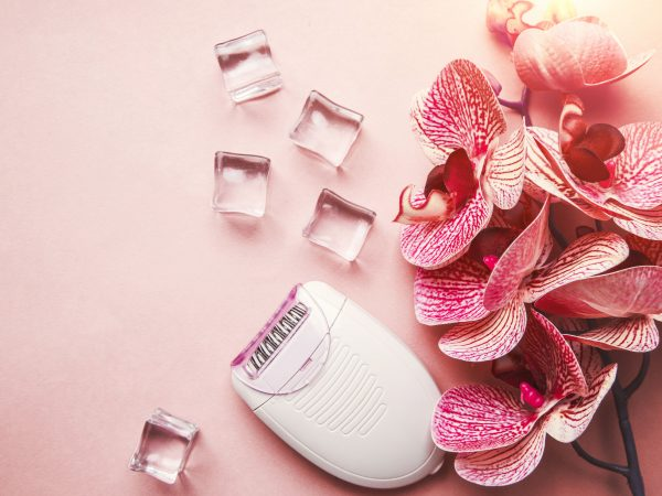 epilator for removing unwanted hair on the body, legs, armpits and bikini area. orchid and ice