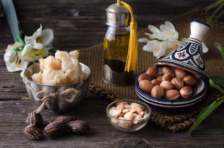 Argan oil and fruits with Shea butter and nuts