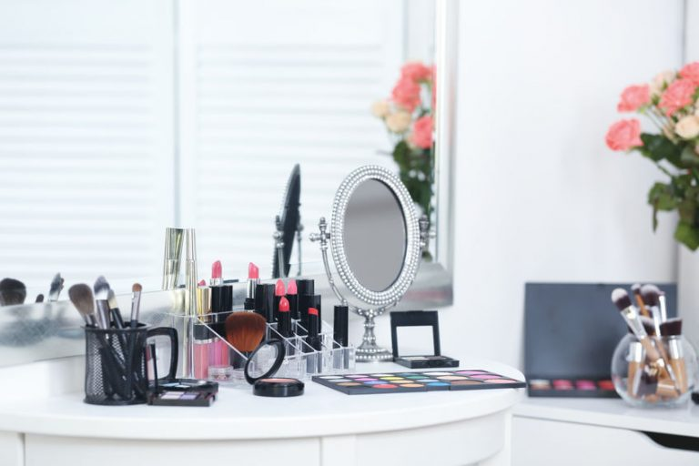 Set of decorative cosmetics on table