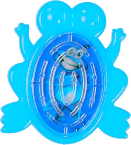 geduldspelletje doolhof kikker 5 cm blauw